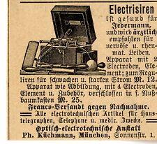 Electrisiren ist gesund für Jedermann...  Historische Reklame von 1895