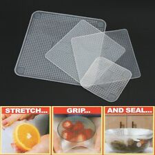 4 Pcs Stretch and Fresh Re-usable Food Wraps As Seen On TV 4 Grips any container