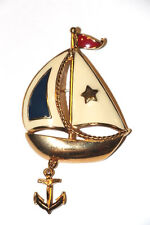 Vintage Avon Sail Boat Anchor Dangle Brooch Pin Gold Tone Red White Blue Enamel