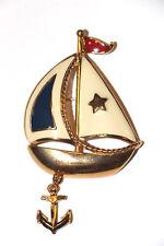 Vintage Avon Sail Boat Anchor Dangle Brooch Pin Gold Tone Red White Blue Enamel