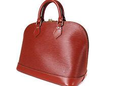 Authentic LOUIS VUITTON ALMA BOWLER Epi Brown Hand Bag LB13094L