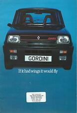 Renault 5 Gordini 8 Page Fold Out Brochure In Excellent Condition Incl Car Specs
