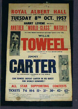 RARE 1957 British Empire WILLIE TOWELL vs JIMMY CATER onsite UK boxing poster