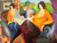 Iztchak Tarkay Large Hand Signed LE Serigraph Untitled Women living room art