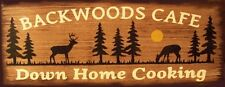 Backwoods Cafe Hunting Primitive Country Distressed Wood Sign Home Decor