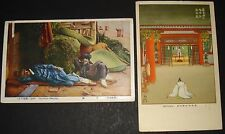 JAPAN 2 DIFFERENT 1937 DAY-TIME SLEEPING WORSHIP NICE POSTCARDS