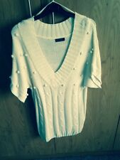 ONLY Cream Knit Short Sleeve Jumper, Size M