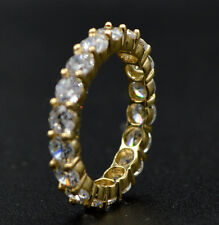 RM15 4.00ct Created Round Diamond Eternity Wedding Band Size 7 14K Yellow Gold