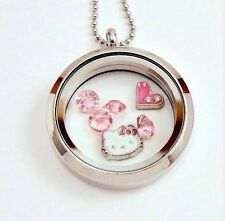S/STEEL 25 MM HELLO KITTY FLOATING SILVER LOCKET PENDANT NECKLACE & CHARMS