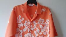 Men's VRG TROPICALLY YOURS L Rayon Hawaiian Short Sleeve Hibiscus Orange & White