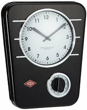 Wesco Classic Line Powder Coated Steel Kitchen Wall Clock with Analogue Timer, B