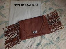 TYLIE MALIBU purse clutch leather brown fringe NEW with dust bag over$300