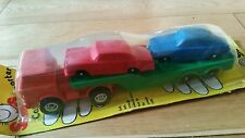 MARX TOYS Galanite FORD ORANGE CAB with GREEN Trailer Tansporter + MERC SABB