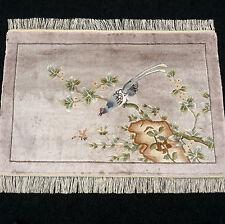 Orient Teppich China 94 x 62 cm Seide Seidenteppich Vogel Silk Carpet Rug Tapis