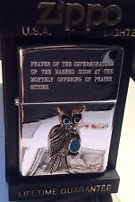 RARE1994 ZIPPO Lighter Japanese Market Owl W/ Turquiose HP Chrome, New IN BOX