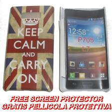 Pellicola+custodia BACK COVER UK FLAG KEEP CALM per LG Optimus L7 P700