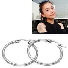 Fashion Silver Plated Stainless Steel 2mm Thin Polished Round Hoop Earrings HU
