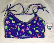 Beach Stop Palm Tree Swimwear Midkini Top Electric Cobalt Color Size Large