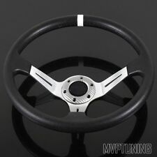 350mm PVC Leather/Silver Spoke Deep Dish JDM Drift Style 6-Bolt Steering Wheel