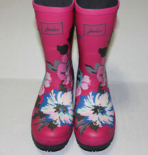 Joules Molly Welly Mid Height Rain Boots, Pink Posy - Size US 8