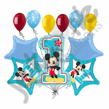 11 pc Mickey Mouse 1st Birthday Balloon Bouquet Party Decoration Blue Disney Boy