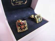 Penrose of London Designer Gold Plated Pallas Floral Square Cufflinks Black#CL68