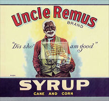REPRINT PICTURE old can label UNCLE REMUS BRAND SYRUP cane and corn 1924 7x6 1/2