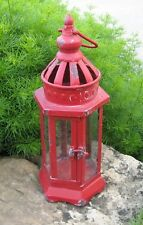 Farmhouse Antique RED LANTERN Candle Holder*Primitive/French Country/Urban Decor