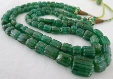 FINEST ANTIQUE LOVERS 17MM 2 LINE 464CTS NATURAL EMERALD CARVED BEADS NECKLACE