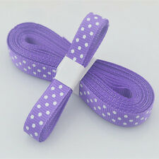 "Purple 5yds 3/8"" (10 mm)Christmas Ribbon Printed lovely dots Grosgrain Ribbon"