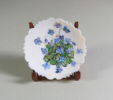 "DH Miniature FRANK MATTER""S Hand Painted Scalloped Plate w/ Wooden Stand RARE !!"
