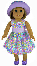 "Easter Eggs Pastel Dress + Matching Hat for 18"" American Girl Doll Clothes"