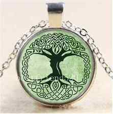 Celtic Tree of life Cabochon Glass Tibet Silver Chain Pendant Necklace