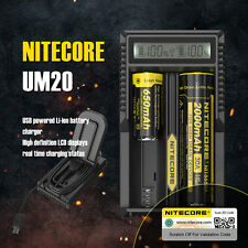 Nitecore UM20 Digital LCD Micro USB Double Battery Charger For Li-ion IMR 18650