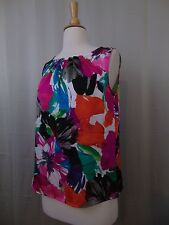 Kasper Sleeveless Pleat Neck Tiger Lilly Floral Print Shell Tank Top XS #460