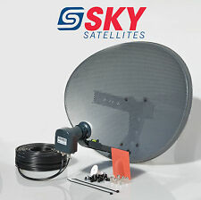 Sky Freesat Satellite Dish & Octo Lnb + Complete 10M Black Twin Coax Cable Kit