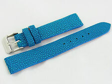 18mm Genuine Real Stingray Skin Watch Band Strap Nubuck Suede Backing Blue