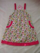 NWT LOLA ET MOI Tea Party Dress 8 7 9 $84 Teapots Cup Pink Green Tunic Top Apron