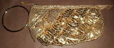Chateau Gold Ruffled Clutch Bag Gold Ring Handle/ Wristlet  EUC!