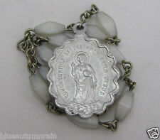"† RARE ANTIQUE ""CONGERGATION OF THE HOLY CHILD JESUS"" GLASS CHAPLET ROSARY †"