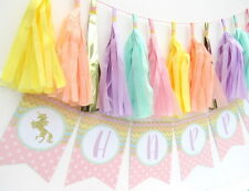Rainbow Gold Glitter Unicorn Personalised Bunting | First Birthday | Hen Party