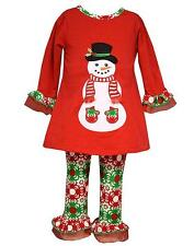 New Girls Bonnie Jean sz 24m Red Green SNOWMAN Outfit Holiday Christmas Clothes