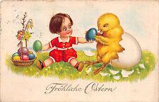 Fröhliche Ostern Kücke mit Baby Postkarte