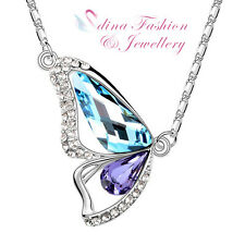 18K White Gold Plated Swarovski Crystal Ocean Blue & Purple Butterfly Necklace
