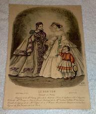 Stampa antica acquerellata moda 1852