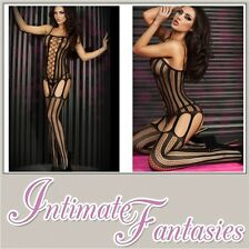 Sexy Black Suspender Tights Fishnet Bodystocking Lingerie Crotchless 8 10 12 14
