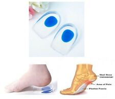 BLUE Heel Support Cup Spur Gel Silicone Shock Cushion Orthotic Shoe Insoles PAIR