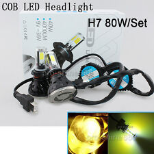COB 80W 8000LM H7 Xenon 3000K Yellow LED Headlight Lamp Bulb KIT High Power TY