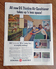 1956 GE General Electric Air conditioners Ad Thinline Playing game of Ping Pong
