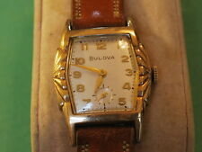 Nice Vintage 1958 BULOVA 10KGF 17J Manual Wind Men's Watch w/Fancy Bezel